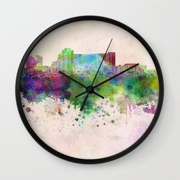 Rochester MN skyline in watercolor background Wall Clock