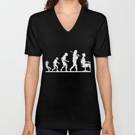 Evolution Man Code Programmer T-Shirt Gift - Unisex V-Neck