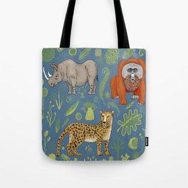 endangered animals, black rhino, amur leopard, bornean orangutan Tote Bag