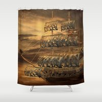 pirate ship Shower Curtains featuring Pirate Ship by FantasyArtDesigns