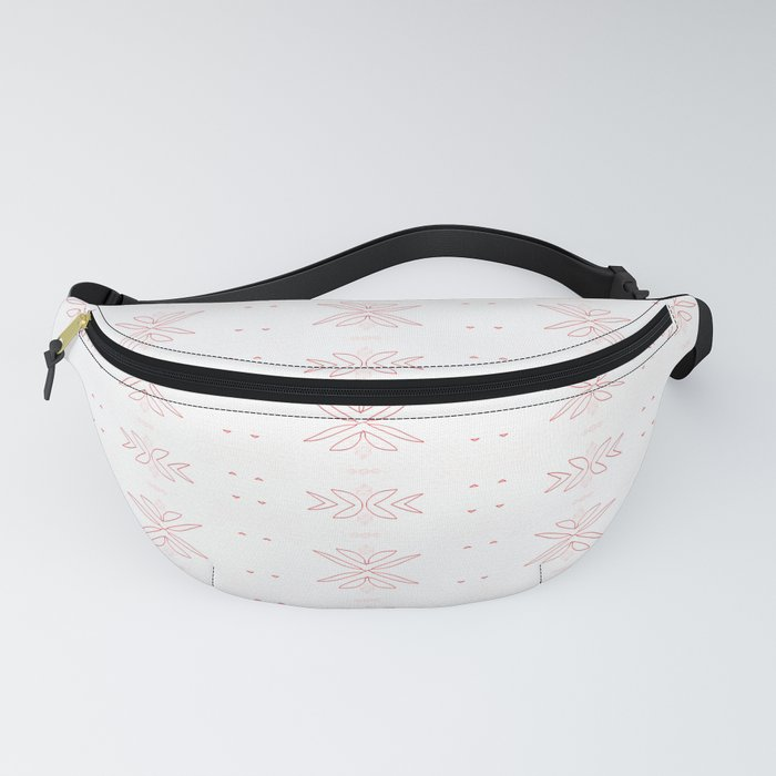 Geometrical abstract living coral  white floral Fanny Pack