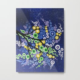 tree in blue, green, yellow and purple with starry sky Metal Print