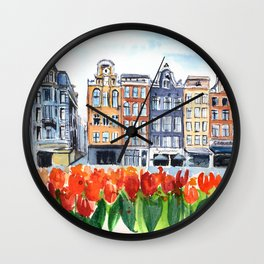 Amsterdam watercolor Wall Clock