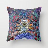 shiva Throw Pillows featuring Space Shiva by BradButler