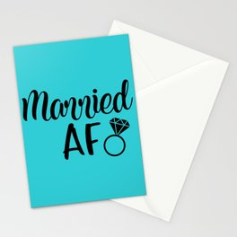 Married AF - Turquoise Stationery Cards