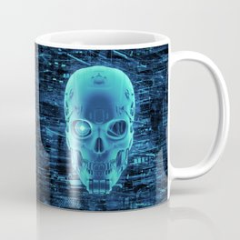 Gamer Skull BLUE TECH / 3D render of cyborg head Coffee Mug