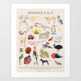 Bizarro Animals - A to Z Art Print