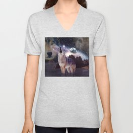 Wolf in the moon howling at the earth Unisex V-Neck