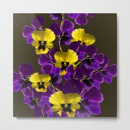 Purple And Yellow Flowers On A Dark Background #decor #buyart #society6 Metal Print