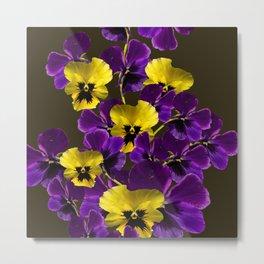 Purple And Yellow Flowers On A Dark Background #decor #society6 #buyart Metal Print