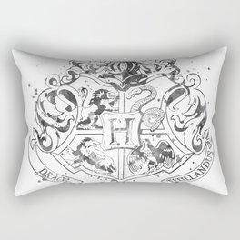 Hogwarts Crest Black and White Rectangular Pillow