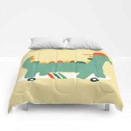 Dinosaur on retro skateboard Comforters