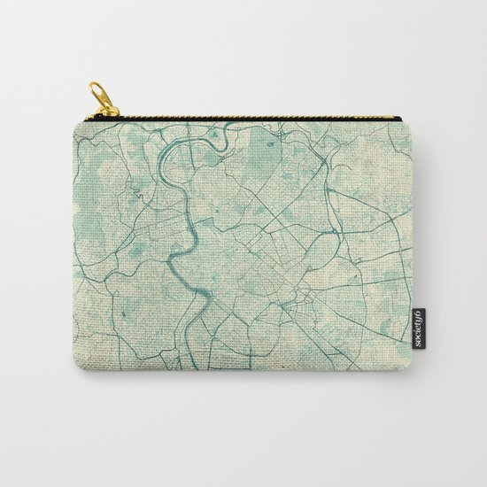 Rome Map Blue Vintage Carry-All Pouch