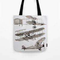airplanes Tote Bags featuring airplanes 3 by Кaterina Кalinich