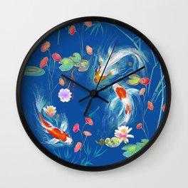 Blue Japanese Water Garden Wall Clock
