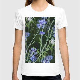Beautiful Cornflowers on Black Background #decor #society6 #buyart T-shirt