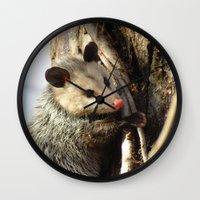 alabama Wall Clocks featuring Alabama Possum by Chuck Buckner