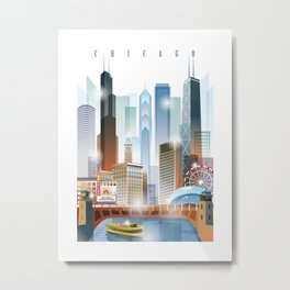 Chicago city skyline painting Metal Print