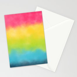 Pink yellow lime green aqua watercolor stripes Stationery Cards