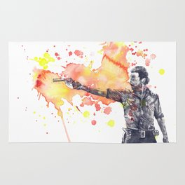 Portrait of Rick Grimes from The Walking Dead Rug