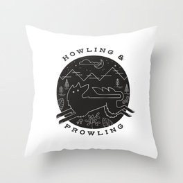 Howling and Prowling Throw Pillow
