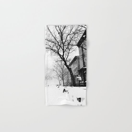 New York City At Snow Time Black and White Hand & Bath Towel