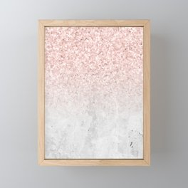 She Sparkles Rose Gold Pink Concrete Luxe Framed Mini Art Print