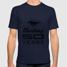 Ford Mustang 50 Years Navy LARGE Mens Fitted Tee