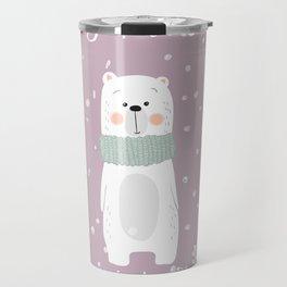 Cute Polar Bear Pink Travel Mug