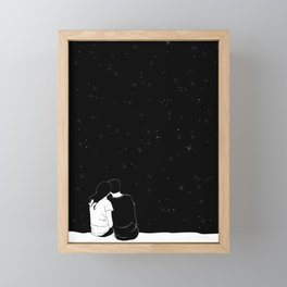 lovers watching the stars Framed Mini Art Print