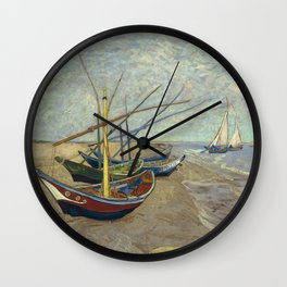 Fishing boats on the beach at Les Saintes-Maries-de-la-Mer Wall Clock