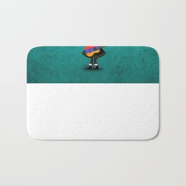 Day of the Dead Girl Playing Armenian Flag Guitar Bath Mat