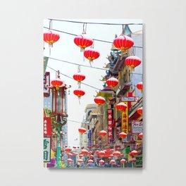 Red Chinese Lanterns in San Francisco Chinatown Metal Print