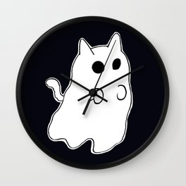 Ghost Cat Wall Clock