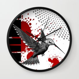 Trash Polka Flying Hummingbird Geometric Shapes Wall Clock