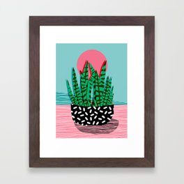 Edgy - wacka potted indoor house plant hipster retro throwback minimal 1980s 80s neon pop art Framed Art Print
