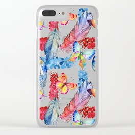 Abstract pink blue watercolor butterfly boho floral pattern Clear iPhone Case