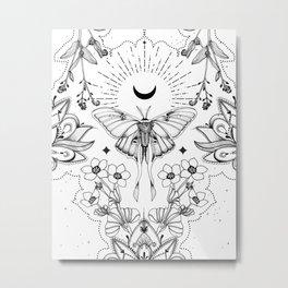 Bohemian Luna Moth On White Metal Print