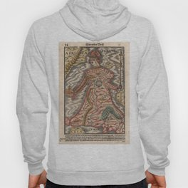 Vintage Map of Europe as a Queen (1570) Hoody