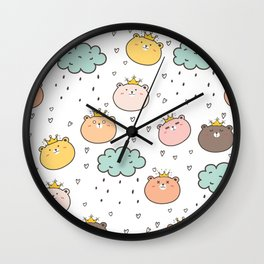 Cute Bear King Wall Clock