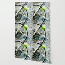 Modern tennis ball and racket 7 Wallpaper