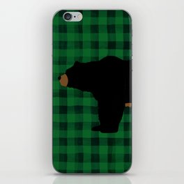 Black Bear - Green Plaid iPhone Skin