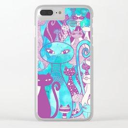 Cat Family II Clear iPhone Case