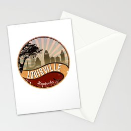 Louisville City Skyline Design Kentucky Retro Vintage Stationery Cards