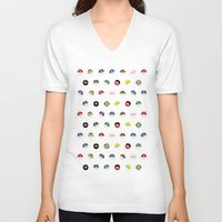 pokeball V-neck T-shirts featuring Cute Pokeball Pattern by &joy