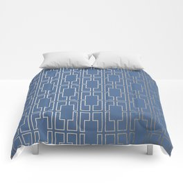 Simply Mid-Century in White Gold Sands and Aegean Blue Comforters