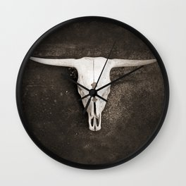Sepia Brown Cow Skull Wall Clock