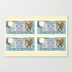 500 lire money note  Canvas Print