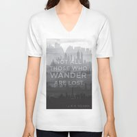 "tolkien V-neck T-shirts featuring ""Not all those who wander are lost"" -- J. R. R. Tolkien quote poster by asiawilliams"