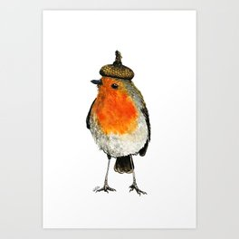 Robin with acorn hat Art Print